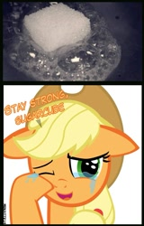 Size: 881x1373 | Tagged: safe, artist:mrkat7214, edit, applejack, earth pony, pony, applebetes, crying, cute, daaaaaaaaaaaw, dialogue, feels, female, floppy ears, happy, hnnng, jackabetes, looking at you, mare, melting, meme, one eye closed, open mouth, pun, puppy dog eyes, reaction, reaction image, sad, sadorable, simple background, smiling, smiling at you, sugar melt, sugarcube, sweet dreams fuel, tears of joy, teary eyes, wat, white background, wiping tears