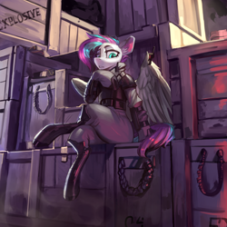 Size: 4000x4000   Tagged: safe, artist:nsilverdraws, oc, oc only, oc:vapourwave, pegasus, pony, absurd resolution, boots, clothes, crate, crossed legs, explosives, female, looking at you, mare, shoes, sitting, solo