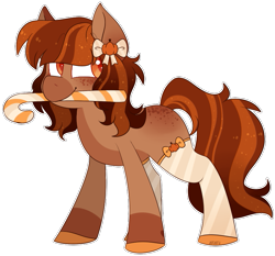 Size: 827x770 | Tagged: safe, artist:jetjetj, part of a set, oc, oc only, oc:pumpkin, earth pony, pony, candy, candy cane, clothes, commission, female, food, mare, mouth hold, simple background, socks, solo, transparent background, ych result