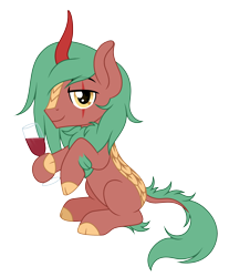 Size: 3025x3651   Tagged: safe, artist:rioshi, artist:starshade, oc, oc only, oc:selketo, kirin, chest fluff, glass, hooves, horn, kirin oc, leg fluff, long mane, looking at you, red wine, scales, scar, simple background, sitting, smiling, smiling at you, solo, starry eyes, stars, tail fluff, transparent background, wine glass, wingding eyes