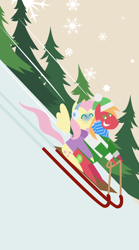 Size: 1440x2592 | Tagged: safe, anonymous artist, big macintosh, fluttershy, earth pony, pegasus, pony, series:fm holidays, series:hearth's warming advent calendar, advent calendar, christmas, clothes, earmuffs, eyes closed, female, fluttermac, hat, holiday, lineless, male, pointy ponies, scarf, shipping, sled, sledding, smiling, snow, snowflake, speed lines, straight, sweater, turtleneck, wavy mouth, winter outfit