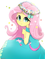 Size: 2436x3223 | Tagged: safe, artist:nendo, fluttershy, equestria girls, adorable face, beautiful, cute, female, floral head wreath, flower, flower in hair, headband, looking at you, looking up, shyabetes, simple background, smiling, solo, white background