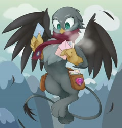 Size: 1960x2048 | Tagged: safe, artist:noupu, gabby, griffon, clothes, cold, cute, cutie mark crusaders patch, female, flying, gabbybetes, letter, mailbag, satchel, scarf