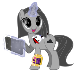 Size: 3329x3166   Tagged: safe, artist:lincolnbrewsterfan, derpibooru exclusive, oc, oc only, oc:blackjack, oc:somber, pony, unicorn, fallout equestria, fallout equestria: project horizons, .svg available, cute, female, gold pipbuck 3000, happy, levitation, looking up, magic, mare, pipbuck 3000, plushie, ponysona, simple background, smiling, svg, tablet, telekinesis, transparent background, vector, when she smiles