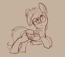 Size: 1882x1657 | Tagged: safe, artist:yoditax, derpy hooves, pegasus, pony, female, looking at you, mare, monochrome, simple background, sketch, solo