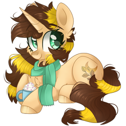 Size: 2048x2048 | Tagged: safe, artist:cinnamontee, oc, oc:golden sage, pony, unicorn, clothes, female, lying down, mare, prone, scarf, simple background, solo, transparent background