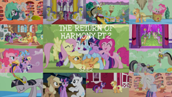 Size: 1952x1099 | Tagged: safe, edit, edited screencap, editor:quoterific, screencap, applejack, discord, fluttershy, pinkie pie, rainbow dash, rarity, tom, twilight sparkle, draconequus, earth pony, pegasus, pony, unicorn, the return of harmony, angry, applejack's hat, big crown thingy, bipedal, chocolate, chocolate rain, cowboy hat, crying, discorded, element of generosity, element of honesty, element of kindness, element of laughter, element of loyalty, element of magic, elements of harmony, eyes closed, food, golden oaks library, group hug, hat, hug, jewelry, mane six, open mouth, rain, regalia, royal guard, sad, unicorn twilight