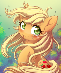 Size: 2000x2400 | Tagged: safe, artist:symbianl, applejack, earth pony, pony, :3, blushing, cute, ear fluff, female, fluffy, hatless, hoof fluff, jackabetes, loose hair, mare, missing accessory, solo, symbianl is trying to murder us