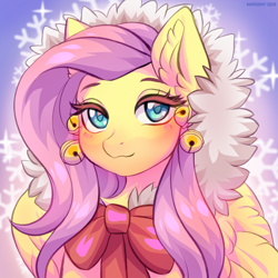 Size: 1200x1200 | Tagged: safe, artist:margony, fluttershy, pegasus, pony, bell, blushing, bow, bust, cat bell, clothes, cute, ear fluff, female, looking at you, mare, portrait, ribbon, shyabetes, solo, wings, winter outfit