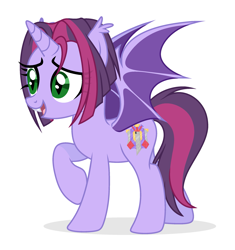 Size: 2373x2525 | Tagged: safe, artist:lazuli0209, artist:rioshi, artist:starshade, oc, oc only, oc:twilight garrison, bat pony, unicorn, base used, bat pony oc, bat wings, commission, female, mare, simple background, solo, white background, wings, ych result, your character here