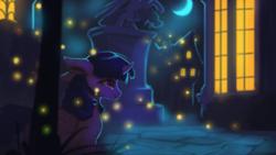 Size: 1920x1080 | Tagged: safe, artist:hierozaki, twilight sparkle, alicorn, pony, crescent moon, female, mare, moon, night, smiling, solo, statue, town, twilight sparkle (alicorn)