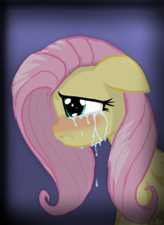 Size: 1600x2201 | Tagged: safe, artist:lennondash, fluttershy, pegasus, pony, blushing, bust, crying, female, floppy ears, folded wings, gradient background, lip bite, mare, portrait, profile, sad, solo, stray strand, teary eyes, wings