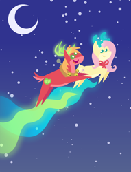 Size: 1872x2448 | Tagged: safe, anonymous artist, big macintosh, fluttershy, deer, reindeer, series:fm holidays, series:hearth's warming advent calendar, advent calendar, bell, christmas, crescent moon, cute, female, fluttermac, flying, holiday, lineless, macabetes, male, moon, night, pointy ponies, reindeerified, shipping, species swap, straight