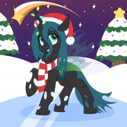 Size: 2048x2048 | Tagged: safe, artist:partylikeanartist, queen chrysalis, changeling, changeling queen, christmas, christmas changeling, christmas lights, christmas tree, clothes, cute, cutealis, eye clipping through hair, eyebrows, eyebrows visible through hair, female, frozen, hat, high res, holiday, ice, night, open mouth, open smile, santa hat, scarf, shooting star, smiling, snow, solo, tree