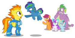 Size: 1280x646   Tagged: safe, artist:aleximusprime, princess flurry heart, scootaloo, spike, spitfire, oc, oc:lightning flash, oc:storm streak, alicorn, dragon, pegasus, flurry heart's story, angry, biting nails, calming of the storm, clothes, filly, filly flurry heart, floating, offspring, older, older scootaloo, older spike, open mouth, parent:oc:thunderhead, parent:rainbow dash, parents:canon x oc, pointing, scared, shocked, simple background, transparent background, uniform, vector, winged spike, wings, wonderbolts uniform, worried