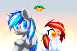 Size: 3072x2050   Tagged: safe, artist:scarlet-spectrum, oc, oc:diamond sun, oc:hawker hurricane, pegasus, pony, bell, blushing, colored pupils, commission, female, hawkmond, holly, holly mistaken for mistletoe, male, mare, oc x oc, shipping, stallion, ych result