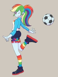 Size: 1620x2160 | Tagged: safe, artist:haibaratomoe, rainbow dash, equestria girls, butt, clothes, cute, dashabetes, football, gray background, legs, one eye closed, ponytail, rainbow socks, rainbutt dash, simple background, socks, solo, sports, striped socks, wink
