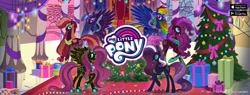 Size: 1920x730 | Tagged: safe, applejack, fluttershy, nightmare rarity, pinkie pie, rainbow dash, twilight sparkle, alicorn, earth pony, pegasus, pony, unicorn, official, christmas, christmas tree, ethereal mane, female, gameloft, holiday, mane six, mare, my little pony logo, nightmare applejack, nightmare fluttershy, nightmare mane 6, nightmare pinkie, nightmare rainbow dash, nightmare twilight, nightmarified, present, starry mane, throne, throne room, tree