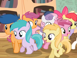 Size: 1280x960 | Tagged: safe, screencap, apple bloom, aura (character), dinky hooves, first base, noi, ruby pinch, scootaloo, shady daze, super funk, sweetie belle, earth pony, pegasus, pony, unicorn, twilight time, colt, cutie mark, cutie mark crusaders, female, filly, golden oaks library, magnifying glass, male, trotting, walking