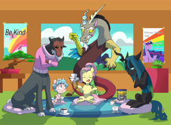 Size: 5427x3979 | Tagged: safe, artist:chub-wub, cozy glow, discord, fluttershy, king sombra, lord tirek, queen chrysalis, twilight sparkle, alicorn, centaur, changeling, changeling queen, draconequus, pegasus, pony, the last problem, a better ending for chrysalis, a better ending for cozy, a better ending for sombra, a better ending for tirek, absurd resolution, alternate hairstyle, ash, black sclera, bonsai, bonsai tree, clothes, cloven hooves, colored sclera, cozy glow is best facemaker, cozy glow is not amused, cozybetes, crossed arms, cup, cute, cutealis, discoshy, eyes closed, featureless crotch, female, filly, food, gritted teeth, group therapy, hoof hold, jar, king sombra is not amused, male, mare, meditating, meditation, missing cutie mark, mug, older, older fluttershy, pillow, princess twilight 2.0, protecting, protective pose, queen chrysalis is not amused, raised hoof, shipping, sitting, stallion, straight, sweater, tea, therapy, tirebetes, tirek is not amused, twilight sparkle (alicorn), unamused, wall of tags, yandere, yanderecord, yoga