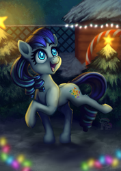 Size: 827x1169 | Tagged: safe, artist:calena, coloratura, earth pony, pony, christmas, christmas lights, christmas tree, cute, female, happy, holiday, mare, raised leg, rara, rarabetes, smiling, solo, starry eyes, tree, wingding eyes