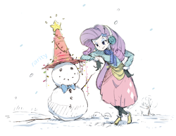 Size: 2524x1957 | Tagged: safe, artist:nendo, rarity, equestria girls, bowtie, christmas, christmas lights, clothes, earmuffs, holiday, leaning, scarf, simple background, snow, snowfall, snowman, solo, sweater, traffic cone, white background, winter outfit