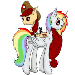 Size: 1000x1000   Tagged: safe, artist:rainbow dash is best pony, oc, oc only, oc:appletime, oc:rainbowrio, alicorn, pegasus, pony, 2021 community collab, derpibooru community collaboration, alicorn oc, bendy, bendy and the ink machine, community collab, cuphead, cuphead (character), hat, horn, looking at you, one eye closed, pegasus oc, plushie, simple background, transparent background, wings, wink