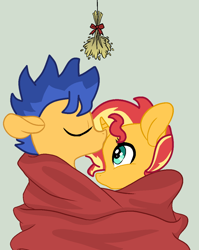 Size: 932x1168 | Tagged: safe, artist:jadethepegasus, flash sentry, sunset shimmer, pegasus, pony, unicorn, clothes, female, flashimmer, kiss on the head, male, mistletoe, shared clothing, shipping, stallion, straight