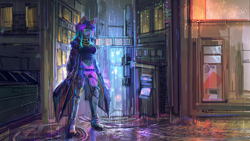 Size: 3840x2160 | Tagged: safe, artist:museuk, oc, oc only, oc:dawn sentry, bat pony, anthro, boots, clothes, coat, cyberpunk, dumpster, dyed hair, dyed mane, female, glasses, looking at you, rain, science fiction, shoes, solo, trenchcoat
