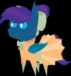 Size: 5699x6073 | Tagged: safe, artist:tikibat, derpibooru exclusive, oc, oc only, oc:stardust, oc:stardust(cosmiceclipse), bat pony, pony, bat pony oc, bat wings, cheerleader, cheerleader outfit, clothes, crossdressing, ear fluff, eyeshadow, fangs, femboy, makeup, male, membranous wings, simple background, slit eyes, slit pupils, socks, solo, stallion, striped socks, transparent background, wings