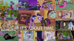 Size: 1938x1091   Tagged: safe, edit, edited screencap, editor:quoterific, screencap, berry punch, berryshine, carrot top, doctor whooves, fluttershy, golden harvest, linky, pinkie pie, princess celestia, sea swirl, seafoam, shoeshine, spike, time turner, tornado bolt, twilight sparkle, alicorn, cerberus, dragon, earth pony, pony, unicorn, it's about time, female, future twilight, golden oaks library, groucho mask, male, mare, mirror, multiple heads, royal guard, stallion, three heads, unicorn twilight