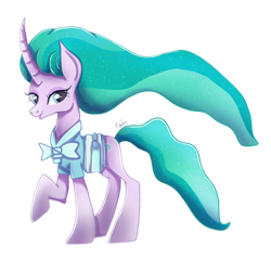 Size: 1024x979 | Tagged: safe, artist:nnaly, mistmane, unicorn, curved horn, female, flowing hair, flowing mane, flowing tail, horn, looking at you, mare, raised hoof, simple background, smiling, smiling at you, solo, transparent background