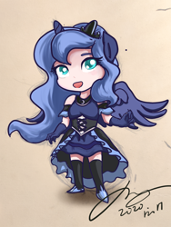 Size: 2250x3000   Tagged: safe, artist:musical ray, princess luna, alicorn, human, equestria girls, alicorn humanization, chibi, clothes, crown, cute, dress, eared humanization, female, gloves, horn, horned humanization, humanized, jewelry, long gloves, lunabetes, regalia, s1 luna, short sleeves, shoulderless, solo, winged humanization