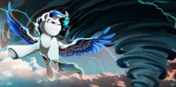 Size: 5000x2480 | Tagged: safe, artist:dormin-kanna, oc, oc only, oc:hawker hurricane, pegasus, pony, cloud, colored wings, commission, flying, high res, lightning, male, multicolored wings, rain, sky, smiling, solo, stallion, storm, tornado, wings