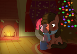 Size: 3508x2480   Tagged: safe, artist:mrkat7214, pinkie pie, oc, oc:ace play, earth pony, pony, blushing, canon x oc, chocolate, christmas, christmas stocking, christmas tree, clothes, cute, facial hair, female, fireplace, food, goatee, hearth's warming, high res, holiday, hot chocolate, male, mare, mug, pinkieplay, scarf, shared clothing, shared scarf, shipping, sitting, stallion, straight, tree, vector