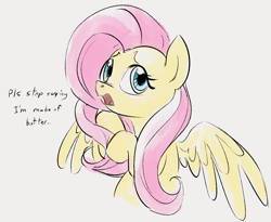 Size: 730x600   Tagged: safe, artist:dotkwa, fluttershy, pegasus, pony, cute, dialogue, female, flutterbutter, mare, shyabetes, simple background, solo, white background, wings
