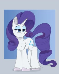 Size: 3200x4000 | Tagged: safe, artist:ponyangle, rarity, unicorn, chest fluff, eyeshadow, female, fluffy, makeup, mare, simple background, solo, unshorn fetlocks
