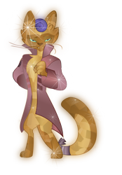 Size: 6008x8654   Tagged: safe, artist:lincolnbrewsterfan, derpibooru exclusive, capper dapperpaws, abyssinian, cat, anthro, digitigrade anthro, my little pony: the movie, absurd resolution, alternate hairstyle, bedroom eyes, clothes, coat, crystal abyssinian, crystallized, glowing, gradient chest, gradient clothes, gradient ears, gradient eyes, gradient hair, happy, lidded eyes, looking at you, male, show accurate, simple background, smiling at you, solo, sparkles, transparent background, vector