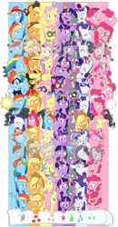 Size: 4579x8800 | Tagged: safe, artist:chub-wub, edit, applejack, fili-second, fluttershy, humdrum, masked matter-horn, mistress marevelous, pinkie pie, radiance, rainbow dash, rarity, saddle rager, spike, twilight sparkle, zapp, alicorn, crystal pony, dragon, earth pony, pegasus, pony, seapony (g4), unicorn, magical mystery cure, my little pony: the movie, power ponies (episode), princess twilight sparkle (episode), the best night ever, the crystal empire, the cutie map, the cutie re-mark, the return of harmony, twilight's kingdom, absurd resolution, alternate hairstyle, alternate timeline, apocalypse dash, applejack's hat, baby, baby spike, bandana, big crown thingy, captain twilight, chrysalis resistance timeline, clothes, comic book, commonity, cowboy hat, crystal war timeline, crystallized, dashstorm, discorded, dress, element of generosity, element of honesty, element of kindness, element of laughter, element of loyalty, element of magic, elements of harmony, equal cutie mark, equalized, eyes closed, eyeshadow, female, filly, filly applejack, filly fluttershy, filly pinkie pie, filly rainbow dash, filly rarity, filly twilight sparkle, freckles, gala dress, grin, hat, jacket, jackletree, jewelry, makeup, male, mane seven, mane six, mare, mask, multeity, night maid rarity, nightmare takeover timeline, open mouth, pinkamena diane pie, pirate, pirate applejack, pirate hat, pirate rainbow dash, pirate rarity, power ponies, rainbow power, raised hoof, regalia, sad, seaponified, seapony pinkie pie, shirt, smiling, so much flutter, sparkle sparkle sparkle, species swap, timeline, too much pink energy is dangerous, tribal pie, tribalshy, twilight sparkle (alicorn), unicorn twilight, vine, wall of tags, wet, wet mane, younger