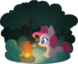 Size: 4000x3272 | Tagged: safe, artist:belka-sempai, pinkie pie, earth pony, pony, campfire, chest fluff, colored pupils, female, food, forest, high res, leg fluff, lying down, mare, marshmallow, mouth hold, ponyloaf, profile, prone, simple background, solo, stick, transparent background