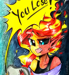 Size: 855x935 | Tagged: safe, artist:liaaqila, sunset shimmer, equestria girls, commission, controller, fiery shimmer, fire hair, gamer sunset, rageset shimmer, sunset satan, that pony sure have anger issues, traditional art, transformation, video game