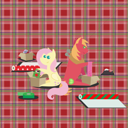 Size: 2160x2160 | Tagged: safe, anonymous artist, big macintosh, fluttershy, bird, earth pony, owl, pegasus, pony, series:fm holidays, series:hearth's warming advent calendar, advent calendar, christmas, clothes, coffee mug, female, fluttermac, holiday, hoof hold, lineless, male, mug, plaid, plaid background, plushie, pointy ponies, present, ribbon, scarf, shipping, sitting, straight, tape, wrapping, wrapping paper