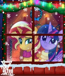 Size: 2500x2906 | Tagged: safe, artist:theretroart88, sunset shimmer, twilight sparkle, alicorn, pony, unicorn, candle, candy, candy cane, christmas, christmas lights, clothes, female, folded wings, food, holiday, lightbulb, mare, scarf, signature, smiling, snow, snowfall, snowflake, twilight sparkle (alicorn), window, wings, wreath