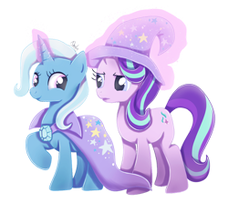 Size: 1024x915 | Tagged: safe, artist:nnaly, starlight glimmer, trixie, pony, unicorn, accessory swap, cape, clothes, female, hat, lesbian, shipping, simple background, startrix, the great and powerful, transparent background, trixie's cape, trixie's hat