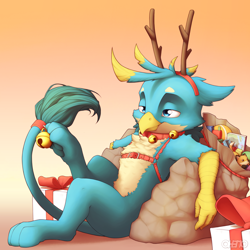 Size: 4000x4000 | Tagged: safe, artist:ohemo, gallus, griffon, absurd resolution, antlers, bell, bell collar, christmas, collar, harness, holiday, jingle bells, male, paws, present, reindeer antlers, sack, solo, toy