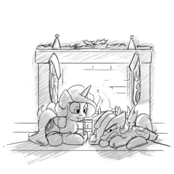 Size: 1280x1280   Tagged: safe, artist:captainhoers, princess celestia, princess luna, alicorn, pony, candy, candy cane, cewestia, christmas, christmas stocking, clothes, duo, eating, female, filly, fireplace, food, grayscale, hat, holiday, lying down, monochrome, mouth hold, prone, royal sisters, santa hat, siblings, sisters, sketch, stockings, thigh highs, woona, younger