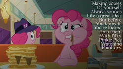 Size: 1920x1080 | Tagged: safe, edit, edited screencap, editor:quoterific, screencap, pinkie pie, pony, the saddle row review, clone, eating, food, pancakes, pinkie clone, puffy cheeks