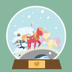 Size: 2592x2592 | Tagged: safe, anonymous artist, big macintosh, fluttershy, earth pony, pegasus, pony, series:fm holidays, series:hearth's warming advent calendar, advent calendar, boop, christmas, female, fluttermac, fluttershy's cottage, green background, heart, holiday, lineless, male, noseboop, pointy ponies, raised hoof, shipping, simple background, snow, snow globe, snowfall, straight