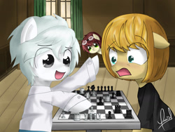 Size: 1600x1200 | Tagged: safe, artist:zorbitas, oc, oc only, earth pony, pony, chess, chess piece, chessboard, clothes, crossover, death note, floppy ears, goggles, matt, mello, near, open mouth, ponified, shirt