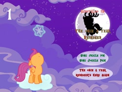 Size: 1280x960 | Tagged: safe, artist:bronybyexception, scootaloo, advent calendar, looking up, snow, snowflake